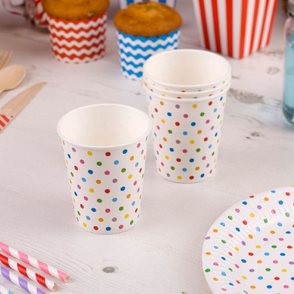Carnival Multi Coloured Paper Cups - Dots (8)